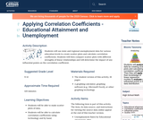 Applying Correlation Coefficients - Educational Attainment and Unemployment