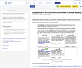 Capitalism & Socialism Task Sheet (Choice Board)
