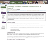 Comparing Journalistic Reports to Primary Sources of Research