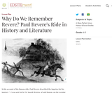 Why Do We Remember Revere? Paul Revere's Ride in History and Literature