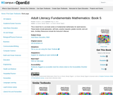 Adult Literacy Fundamentals Mathematics: Book 5