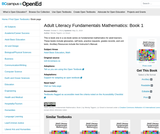 Adult Literacy Fundamentals Mathematics: Book 1