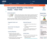 Geographic Mobility in the United States - 1920-1950