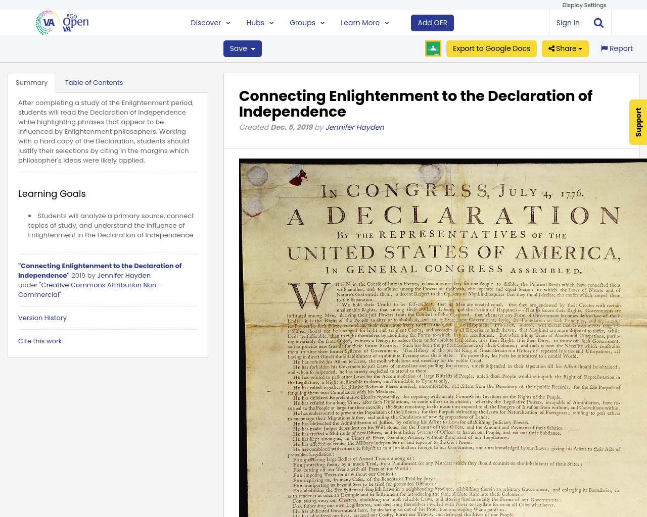 Connecting Enlightenment to the Declaration of ...